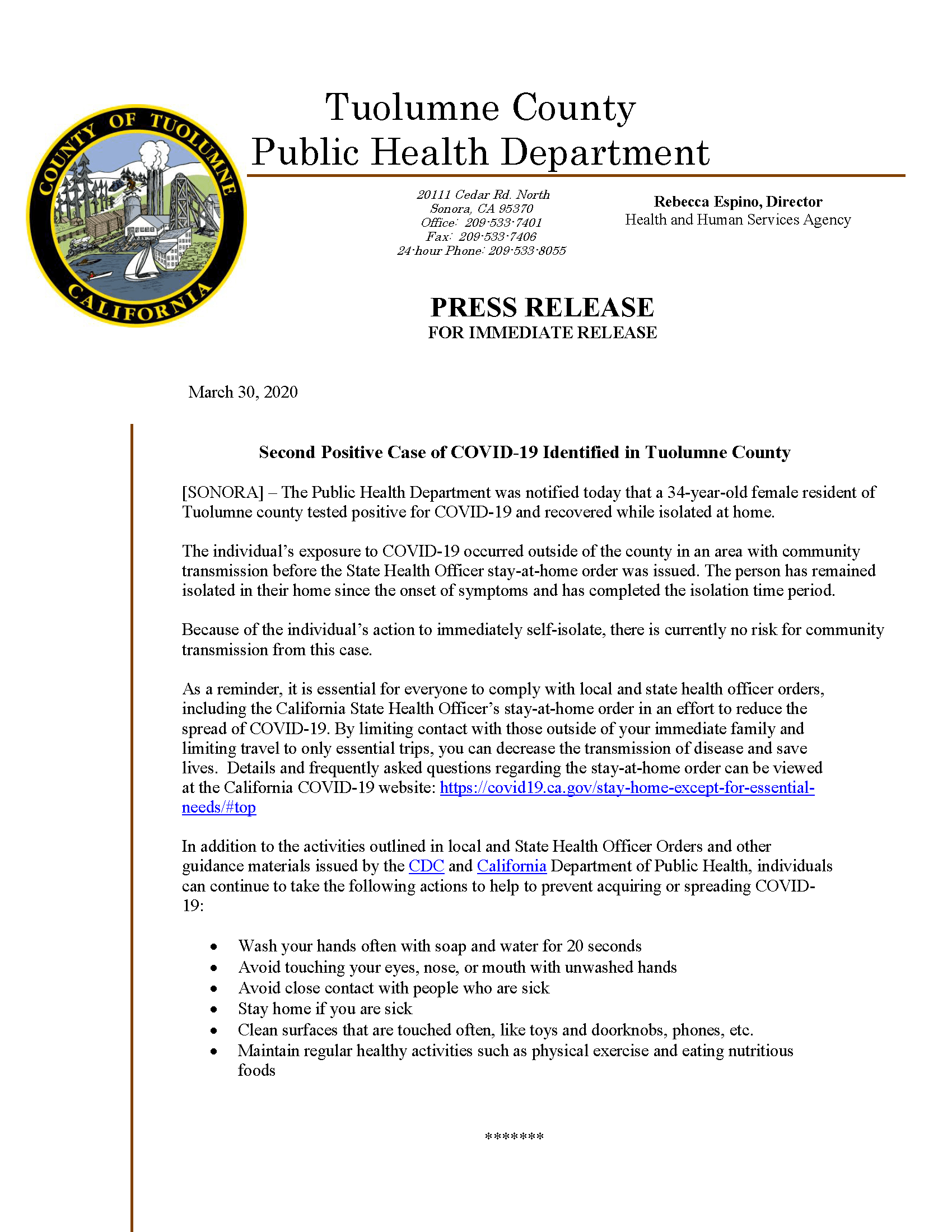 Second Case Identified Tuolumne County COVID-19 press release