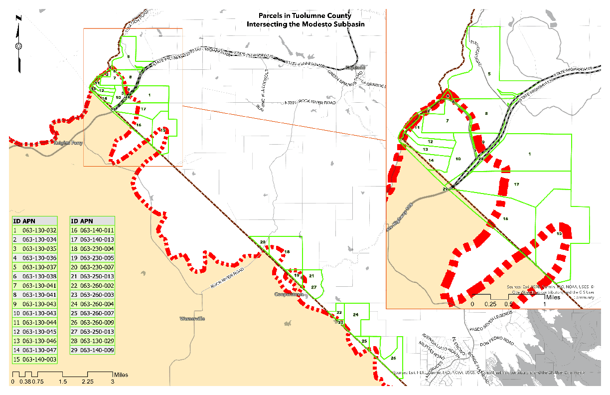 Map of Tuolumne County parcels within Modesto Subbasin